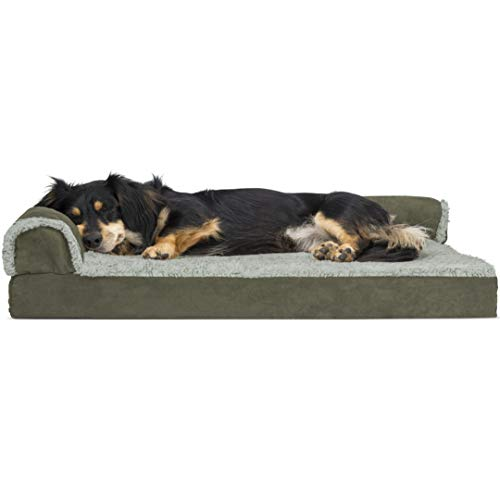 Furhaven Orthopedic Pet Bed for Dogs and Cats - L Chaise Sofa Two-Tone Plush Fur and Suede Couch Dog Bed with Removable Washable Cover, Dark Sage, Medium