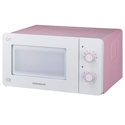 Daewoo QT3R Compact Manual Control Microwave Oven, 600 W, 14 Litre, Pink/White