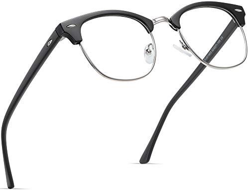 AOMASTE Blue Light Blocking Glasses Retro Semi Rimless UV400 Clear...
