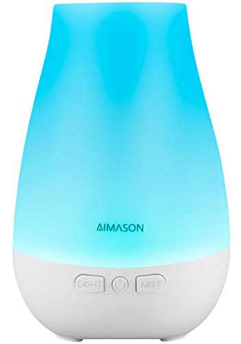 Essential Oil Diffuser,AIMASON 3rd Version 180ML BPA-Free Ultrasonic Aroma Diffuser Humidifier with 7 Color Lights Adjustable Mist Mode and Waterless Auto Shut-off for Home, Office, Bedroom
