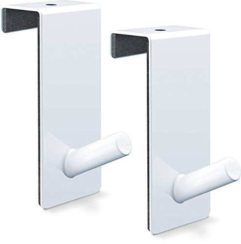 Over Door Hooks for flipcharts - Space-Saving & Portable Alternative to Flipchart Easel | Intelligent Solution for Hanging flipchart Paper | White Coated Steel, for rebated Doors (2X)