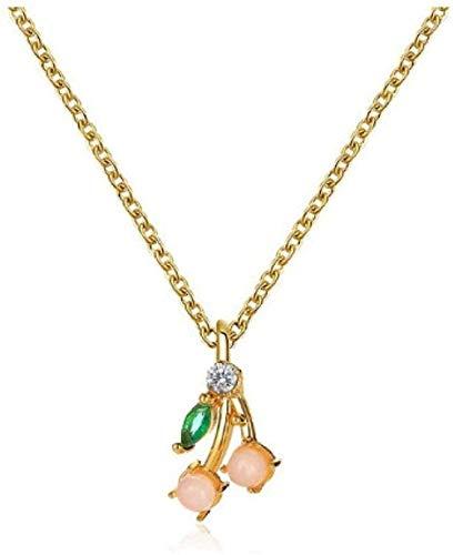 NC190 Collar de Cristal de Cereza Collar de Hoja Verde Collares Pendientes de Fruta de Cereza para Mujer Collar de Borla joyería de Hip Hop al por Mayor Gargantilla de Oro