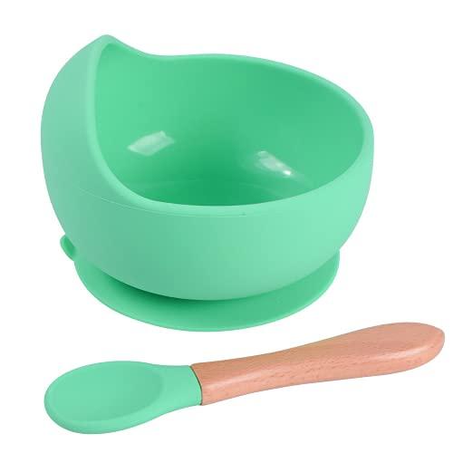 Sicore Kids Schüssel Set aus Silikon und Bambuslöffel | Schale mit Haftboden auf nicht-porösen Oberflächen | BPA-freie Schüssel ideal für BLW | Schale für Mikrowelle und Spülmaschine (Minze)