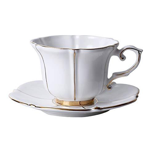 kerryshop Tazas para niños Copas de cerámica y platillos Conjunto Elegante Estilo Europeo té Conjuntos de café de Lujo Tazas de café con cucharaditas 6.8 oz Taza de té