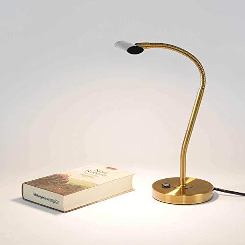 Edle LED Tischleuchte mit Touch Funktion dimmbar in Alt-Messing Tischlampe Klavierleuchte Innen Beistelltisch