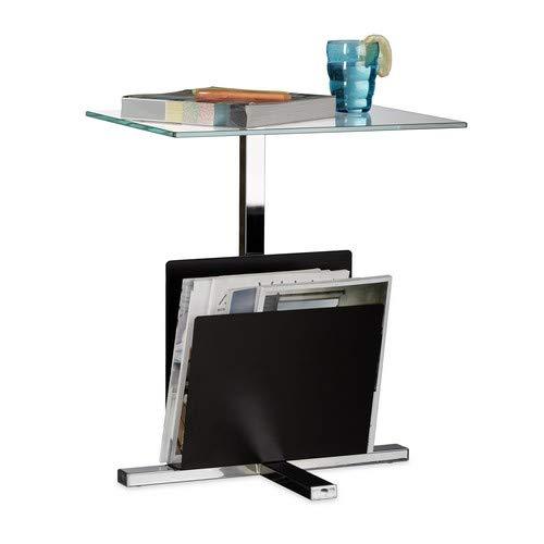 Relaxdays bijzettafel met krantenrek, metaal, glazen salontafel, krantenvak, HxBxD: 53 x 46 x 36 cm, zwart