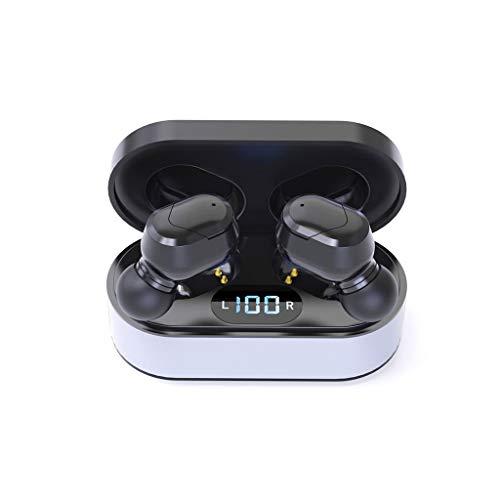 Brizz Draadloze True Bluetooth 5.0 hoge-resolutie geluidsbescherming stereo headset subwoofer in-ear hoofdtelefoon Sports Noise Cancelling oortelefoon auto Bluetooth lichte hoofdtelefoon met microfoon en draagbare oplaadhoes Small zwart