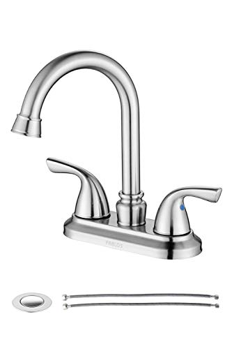 PARLOS Two-Handle Bathroom Sink Faucet with Drain Assembly and Supply Hose Lead-free cUPC Mixer Double Handle Tap Laundry Utility Faucet Brushed Nickel, 13591