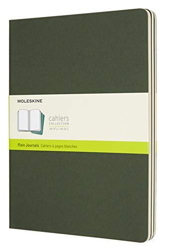 Moleskine Cahier Journal (3er Set Notizbücher mit blanko Seiten, Kartoneinband und Baumwollstickerei, Extra Large 19 x 25 cm, 120 Seiten), myrten-grün