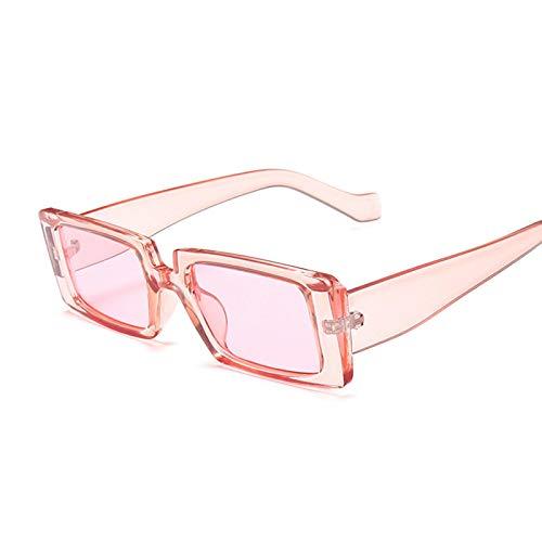 NJJX Gafas De Sol Cuadradas De Moda Para Mujer, Gafas De Sol Rectangulares Retro Vintage Para Mujer, Espejo Negro Pequeño, Rosa