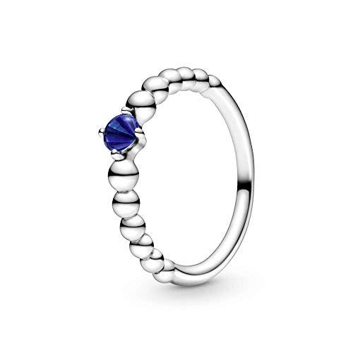 Pandora Anillo solitario para mujer, plata de ley 925, talla 54, color azul