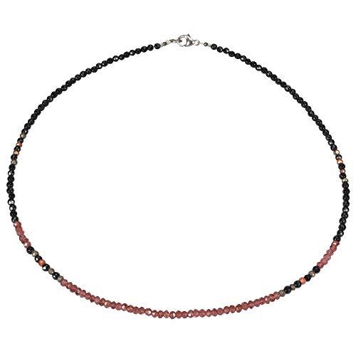 Funk-Collier Edelsteinschmuck Schöne Edelsteinkette -Achat mit Granat facettiert, ca. 45 cm, Damen