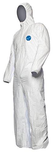 DuPont Tyvek 500 Xpert Chemikalienschutzkleidung mit Kapuze, KategorieII, Typ 5-B und 6-B Robust und Leicht Weiß Größe S