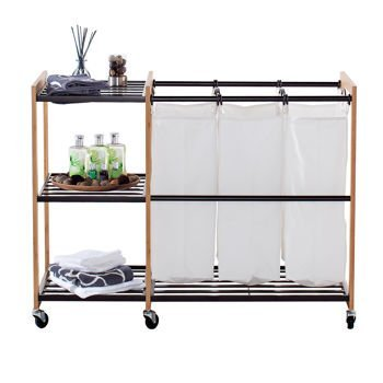 Laundry Sorter 3 Bag Hamper Station with Shelves and Wheels Bamboo & Bronze Eco Friendly