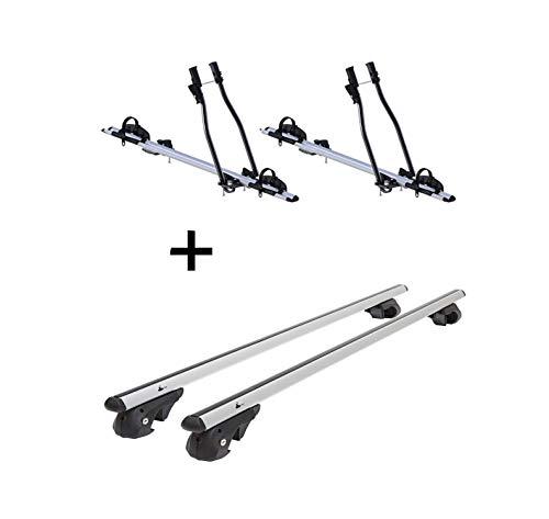 2X Fahrradträger SAGITTAR + Relingträger VDP004 XL kompatibel mit Toyota RAV4 ab 13