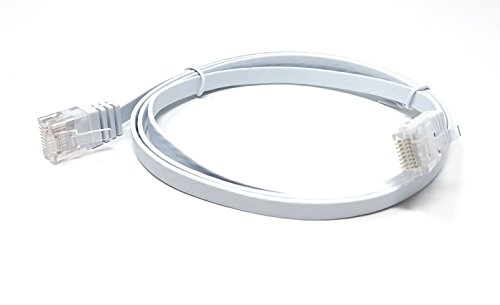 MainCore 2m Long Flat White CAT.6 CAT6 (RJ45 to RJ45) Ethernet Gigabit Lan Network Cable, Patch, UTP, compatible with CAT5, CAT5e, CAT7, Switch, Router, Modem, Patch panel, Access Point.