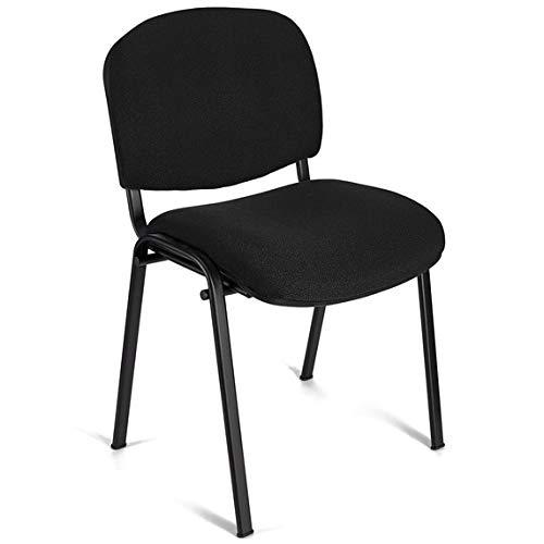 4x Silla de colectividades, tapizada, ideal para academias, autoescuelas. Apilables. Color negro