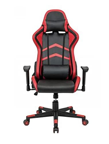 S K Modern Art Ergonomic High Back Gaming Chair Recliner Chair with Neck Rest and Adjustable Back Cushion [Red & Black]