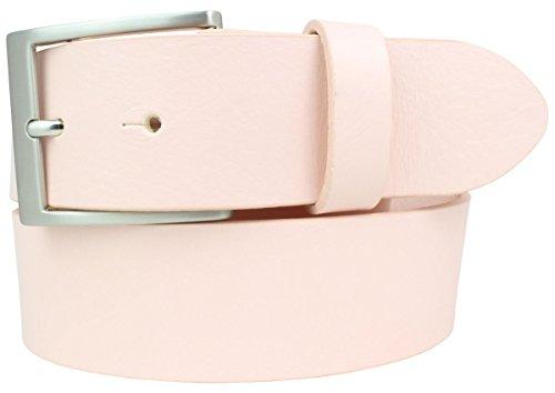 Jeansgürtel aus Vollrindleder 4,0 cm | Jeans-Gürtel für Damen Herren 40mm | Vollleder-Gürtel in 4cm Ledergürtel | Rosa 85cm