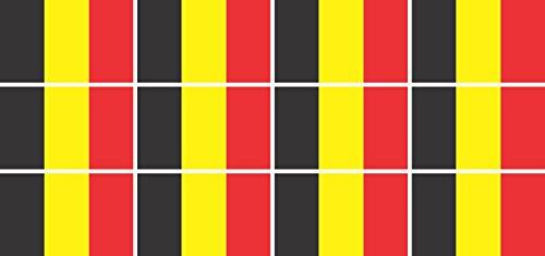 Jintora Mini Drapeaux/Drapeaux Ensemble - Lisse - 50x31mm - Autocollant - Belgique - Stickers pour Le Bureau, l'école et la Maison - 12 pièces
