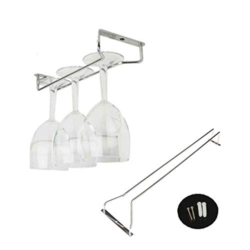 ForeWan - Soporte para copas de vino, acero inoxidable, soporte para copas de cristal, soporte para copas de cocina, estante para colgar en la barra familiar, 27 cm