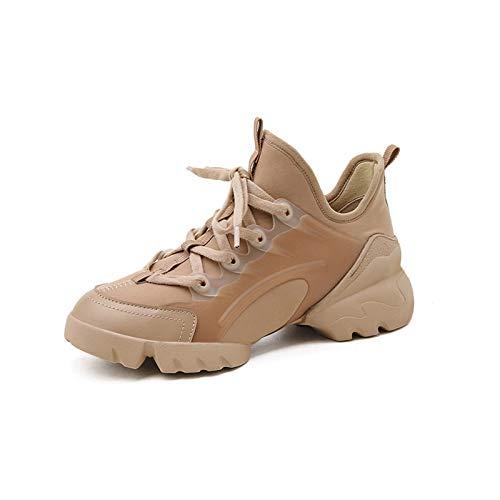 HaoLin Zapatillas De Mujer Zapatos De Mujer Zapatos De Otoño Zapatillas De Mujer con Plataforma Zapatos con Plataforma,Beige-39