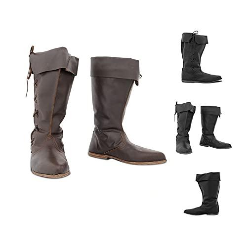 TZH Botas Retro Medievales Gótico Vikingo Caballero Guerrero Zapatos De Cuero De PU con Cordones Zapatos De Bota De Eje Largo De Fondo Plano para Cosplay,Negro,39