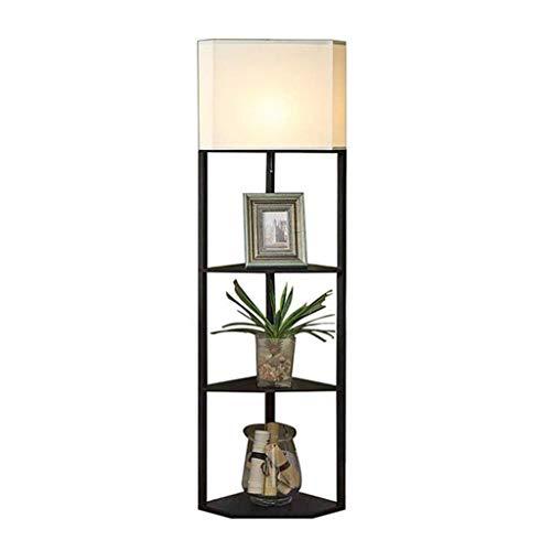 Eikenhouten vloer Lamp met 3 lagen Houten Plank Floor Stand Lamp en Fabric Floor Lamp Chain Schakelaar for Reading bestuderen Rusten Organizing in woonkamer slaapkamer Gang van het bureau