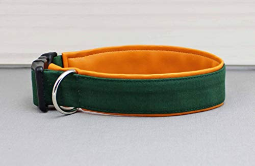 Hundehalsband in dunkelgrün, uni, mit Kunstleder in orange, bunt, olivgrün, grün, stylisch, modern, Hund, Halsband