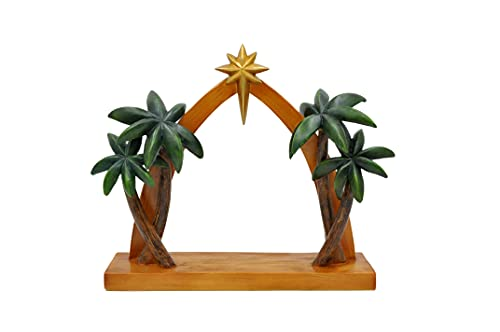 Comfy Hour The Story of Jesus Nativity Scene Collection Religious Nativity Creche with Star On Roof, Trees Aside, Accessory for Christmas Holy Family Nativity Set, Polyresin