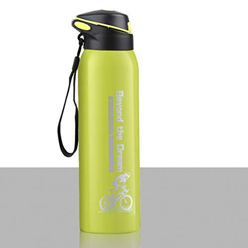 Botella de Agua para Bicicleta de 500 ml Deporte al Aire Libre Correr Ciclismo de montaña Mantener Caliente Bicicleta Hervidor Botella de Bebida Taza de Acero Inoxidable - Verde