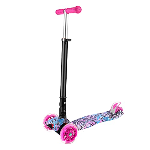 3 Wheeled Scooter, FONTE KS3 Foldable Scooter for 3-12 Years Old, PU Led Light Wheels, Adjustable Height, Anti-Slip Deck, Back Wheel Brake, Maximum Load of 110 lb (Pink)