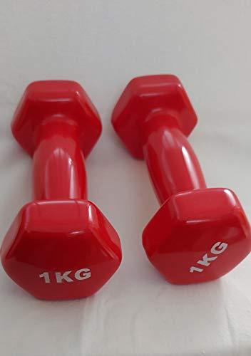 Generico Manubri Pesi per Palestra Fitness Yoga Esercizio Casa in Vinile (Set di 2) da Ikg -8kg (Rossa, 1kg ×2)*2kg in Totale*