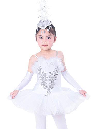 FONLAM Vestito Body da Balletto Danza Cigno per Bambine Ragazze Abiti Leotard Ballet Tutu Ginnastica Ragazza Paillettes (4-5 Anni)