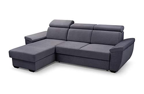 MOEBLO Sofa mit Schlaffunktion und Bettkasten, Couch für Wohnzimmer, Schlafsofa Federkern Sofagarnitur Polstersofa Wohnlandschaft mit Bettfunktion - Alano (Grau, Ecksofa Links)