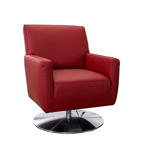 CAVADORE Drehsessel Barney mit Federkern / Drehbarer Ledersessel mit Armlehnen fürs Wohnzimmer / 68 x 84 x 71 / Lederimitat, rot