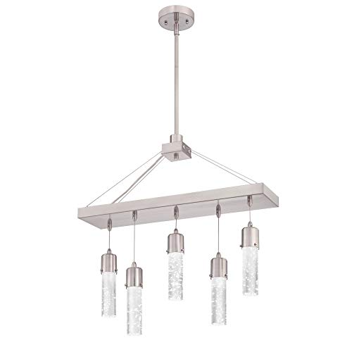 Westinghouse Lighting 6371900 Cava Five-Light, Brushed Nickel Finish with Bubble Glass LED Indoor Chandelier, One Size