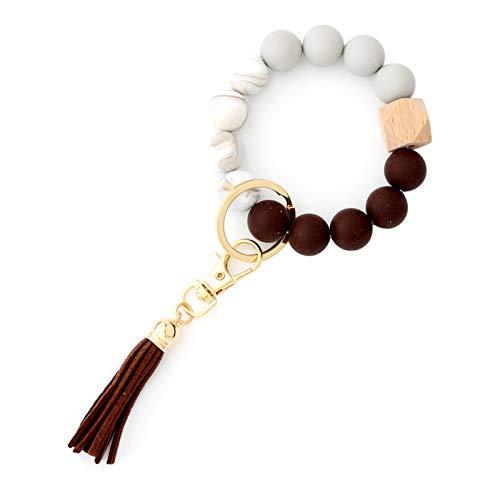 Silicone Beaded Elastic Bracelet Keychain Removable Tassel Fringe Faux Leather Wood Wooden Key Ring Holder Wristlet Bangle for Women Girl Men Boy Hand Wrist Jewelry Gift-D coffee