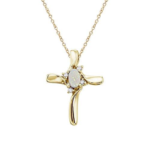 14 K oro amarillo Opal y diamante de colgante en forma de cruz