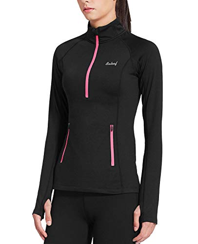 BALEAF Women's Thermal Fleece Half Zip Thumbholes Long Sleeve Running Gear Pullover for Cold Weather Black Size M