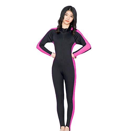 Nrpfell Anti-UV Taucher Anzug Einteiliger Bade Anzug Warme Schnorchel Kleidung für Frauen K?Rper AnzüGe Damen Bade Bekleidung EIN Teiliger Lang Arm L