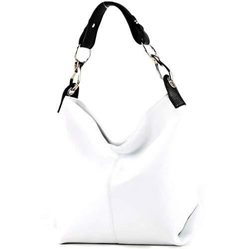 modamoda de - T168 - ital Schulter-/Umhängetasche aus Leder, Farbe:Weiß/Schwarz