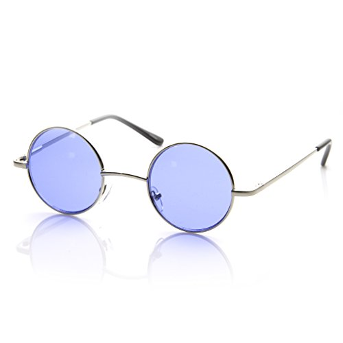 MLC EYEWEAR Small Metal Round Circle Color Tint Lennon Style Sunglasses (Silver, Blue)