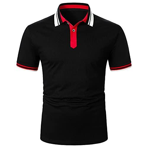 Camisa de verano de manga corta para hombre, camisa informal a rayas, clásica, transpirable, cuello alto, para fiestas formales Negro_1. XXL