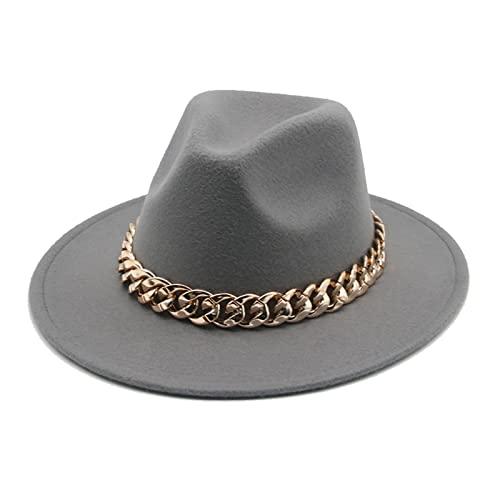 SXLYKJ XCBHJXD Fedora Sombreros Mujeres Hombres Ancho Amplio Cadena de Oro Cadena de Oro Sombrero Sombrero Jazz Cap Invierno Otoño Panamá Camello Blanco Sombreros