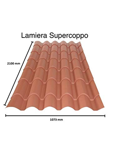 LAMIERA ONDULATA FINTO COPPO COPERTURA TETTO LUNGA 2,10Mt LARGHEZZA 1,07MT SPESSORE 0,5MM