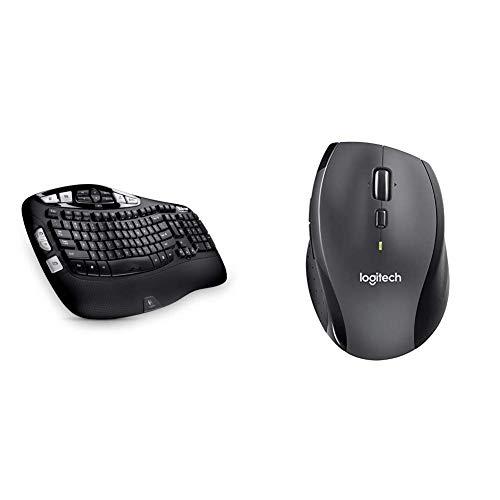Logitech Wireless Keyboard K350 for Business (QWERTZ, deutsches Tastaturlayout) & Marathon M705 - kabellose Maus (für Notebook/Computer mit 3Jahren Batterielebensdauer) einfarbig