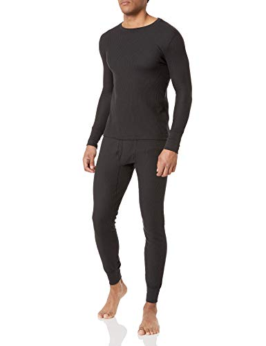 Fruit of the Loom Men's Recycled Waffle Thermal Underwear Set (Top and Bottom), Black, Large