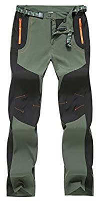 TBMPOY Men's Water Resistant Camping Hunting Tactical Pants Fishing Casual Sports Pants(Green,US 32)