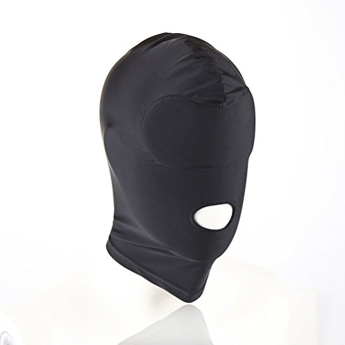 LUOEM Cubierta completa Zentai Hood Mask Elastic Black transpirable boca abierta Face Cover Blindfold Máscara Cosplay Hoodie Unisex Sombrero Tamaño M